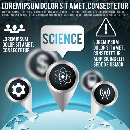 Illustration for Blue vector background with science icons - Royalty Free Image