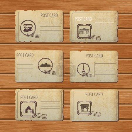 Illustration pour Ensemble de modèles de cartes postales vintage voyage - image libre de droit