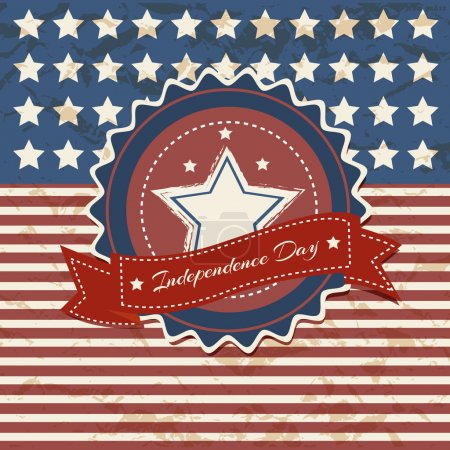 Illustration for Vector independence day poster. Retro vintage version - Royalty Free Image