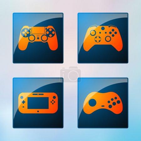 Videospielsymbole gesetzt