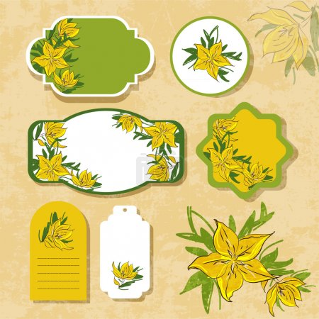 Illustration for Vintage labels with flowers - Royalty Free Image