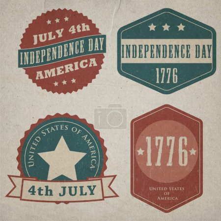 Vector independence day lables. Retro vintage version