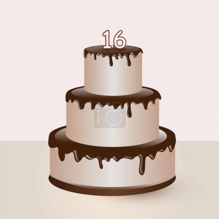 Sweet sixteen birthday cake. Vector illustration.