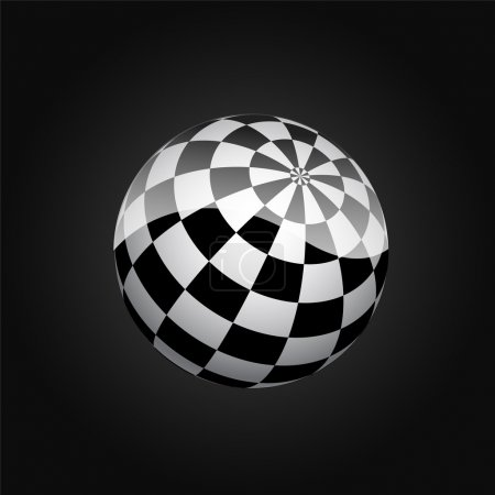 Black and white checkered sphere. Vector illustration.