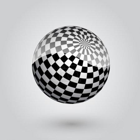 Sphère à carreaux noirs et blancs. Illustration vectorielle .