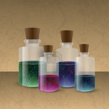 Illustration for Laboratory glassware with colored liquid - Royalty Free Image