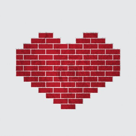 Vector heart of bricks