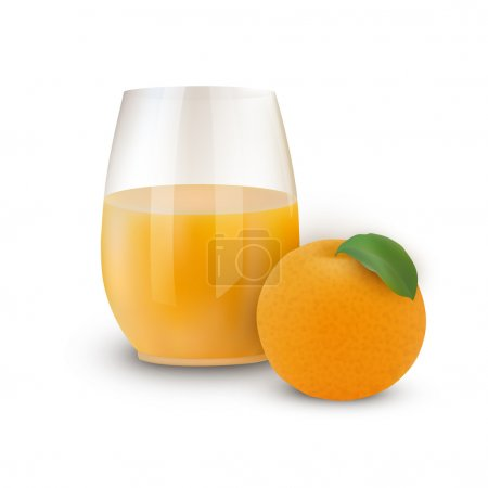 Glass of juice with orange. Vector illustration
