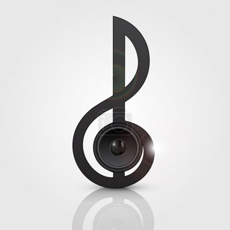 Vector abstract treble clef with speaker.