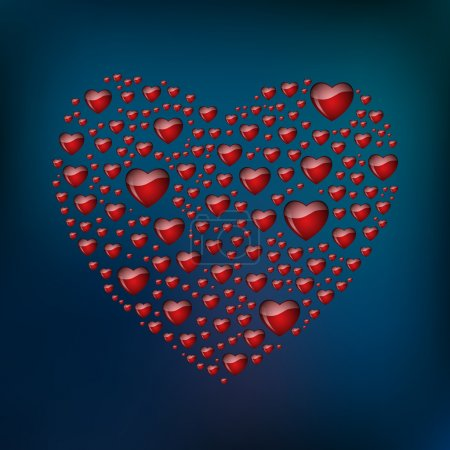 Abstract heart from hearts. Vector background.