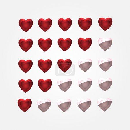 Vector set of heart buttons