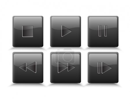 Vector set of media buttons