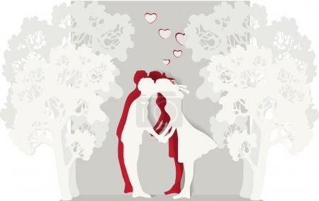 Vektor-Illustration eines küssenden Paares.