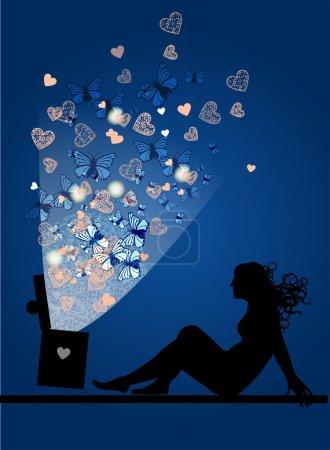 Illustration pour Silhouette de femme avec boîte magique . - image libre de droit