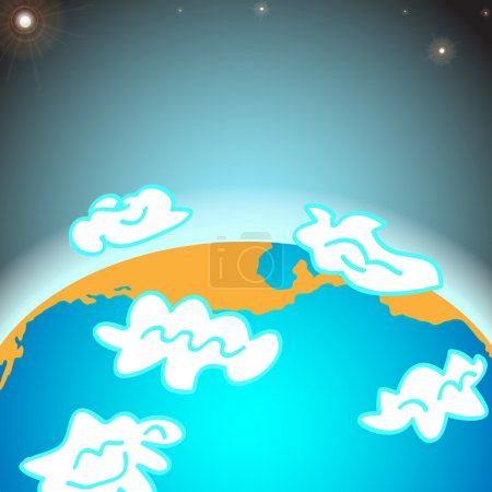 Erdplanet mit Wolken - Vektorillustration