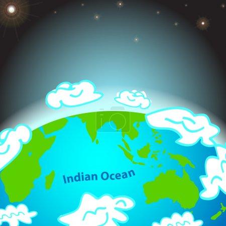 Illustration pour Illustration de l'océan Indien sur Terre - image libre de droit