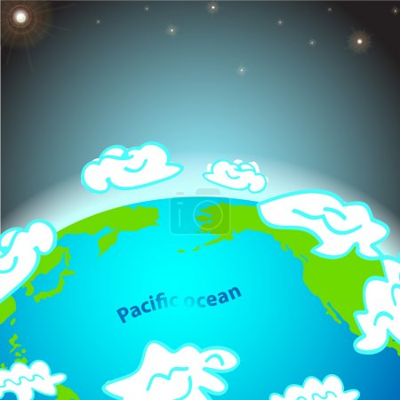 Illustration pour Illustration de l'océan Pacifique sur Terre - image libre de droit