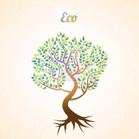 Photo for Vector abstract tree with green leaves - Royalty Free Image