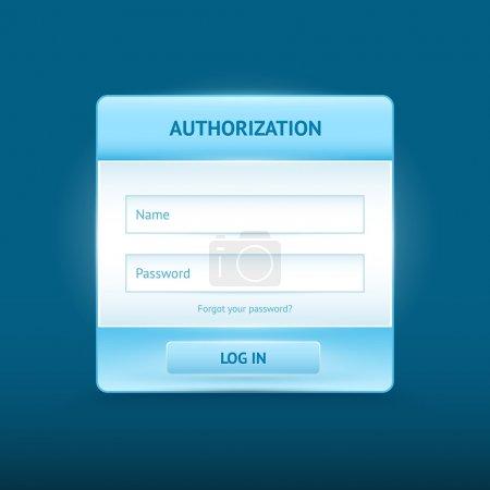 Illustration pour Connectez-vous et enregistrez des formulaires Web brillants - image libre de droit