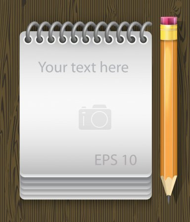 Vector illustration of notepad with pencil