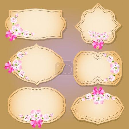 Illustration pour Collection d'étiquettes, bannières et emblèmes floraux rétro grunge avec siège vide pour votre texte - image libre de droit