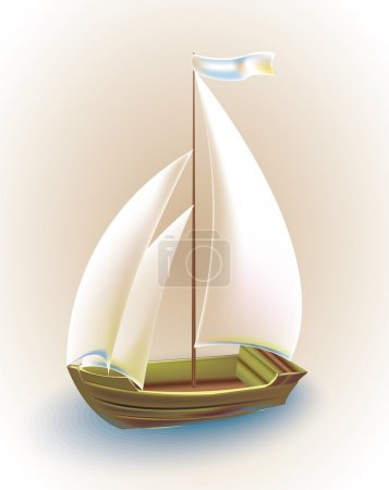 Old ship with sails. Vector illustration.