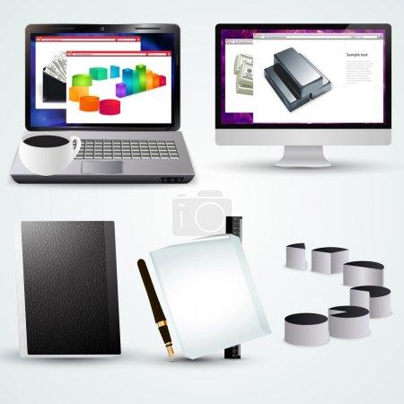 Illustration pour Ordinateur portable de bureau vectoriel avec diagramme d'affaires, ordinateur, tasse et accessoires de bureau - image libre de droit