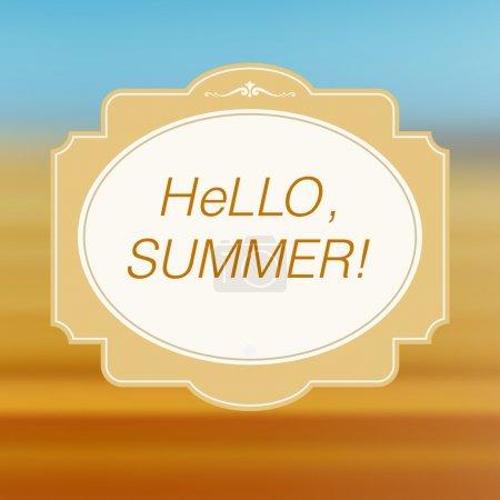 Illustration pour Vintage bonjour carte d'été - image libre de droit