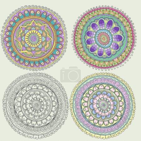 Illustration pour Ensemble d'ornements folkloriques traditionnels entourés - image libre de droit