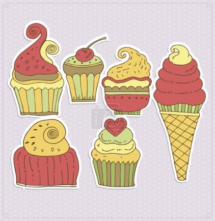 Illustration pour Délicieux cupcakes et illustration vectorielle glace - image libre de droit