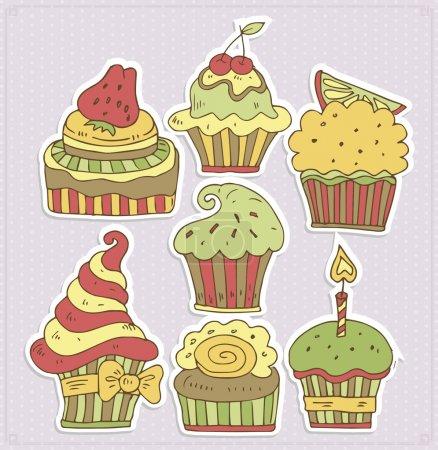 Illustration pour Délicieux cupcakes vecteur illustration - image libre de droit