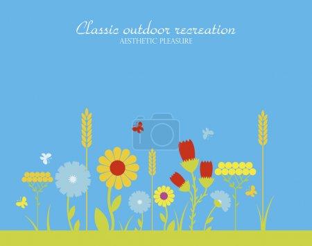 Illustration pour Saison vectorielle des herbes à fleurs - image libre de droit