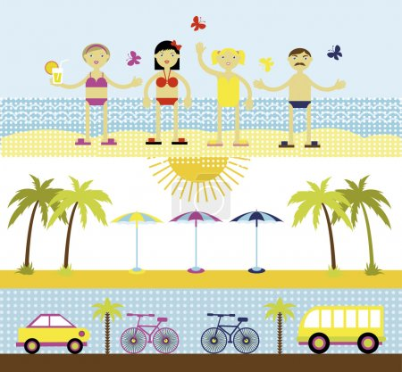 Summer set, travel vector illustration