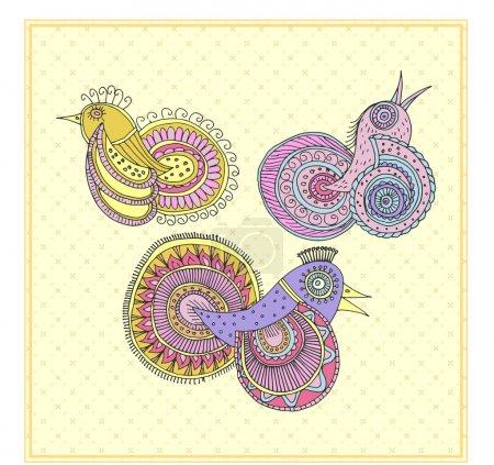 Illustration pour Oiseaux magiques dans le style ethnique - image libre de droit