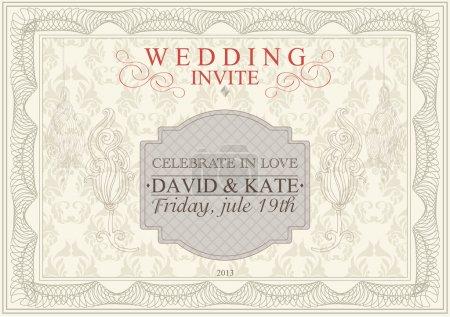 Illustration pour Invitation, carte d'anniversaire avec un délicat motif floral sans couture en arrière-plan. Vecteur - image libre de droit