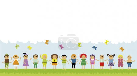 Vector illustration of children standing in a row on the green field. Copyspace with clouds and butterflies