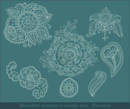 Illustration pour Éléments floristiques décoratifs de style vintage. Illustration vectorielle - image libre de droit