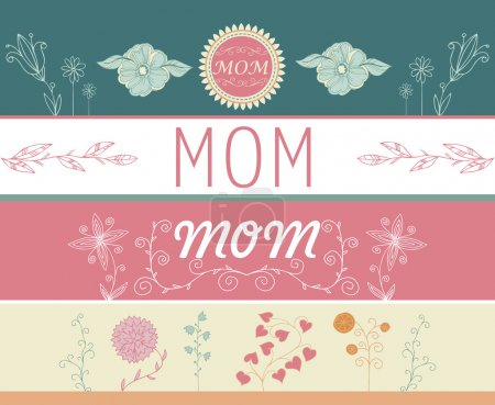 Set of Mother's day greeting banners with spring flowers. Vector illustration