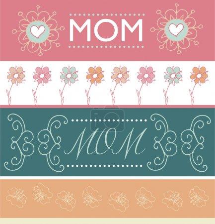 Illustration pour Ensemble de bannières de salutation de la fête des mères avec des fleurs de printemps. Illustration vectorielle - image libre de droit