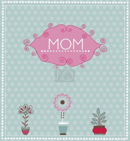 Illustration pour Carte de voeux pour la fête des Mères. Image vectorielle avec fleurs printanières - image libre de droit