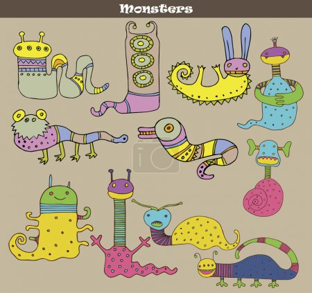 Set of multicolored cartoon monsters against grey background. Vector image