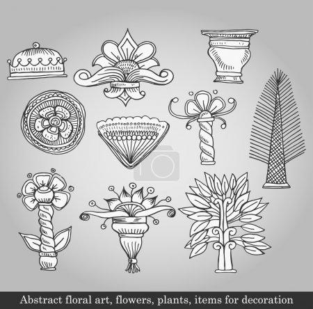 Illustration pour Art floral abstrait, fleurs, plantes, objets de décoration sur fond gris. Illustration vectorielle dans un style rétro - image libre de droit