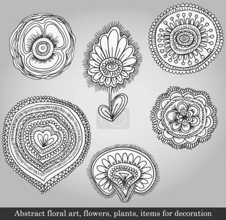 Photo for Abstract floral art, flowers, plants, items for decoration on gray background. Vector illustration in retro style - Royalty Free Image