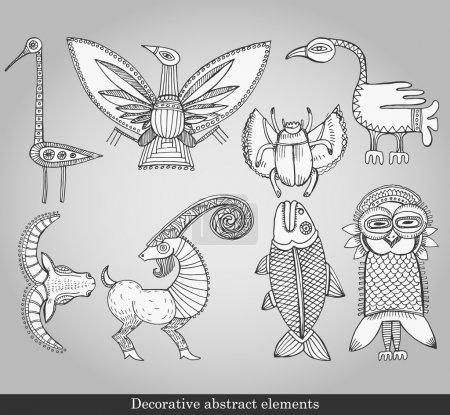 Illustration pour Eléments abstraits décoratifs. Objets abstraits pour la décoration sur fond gris. Illustration vectorielle dans un style rétro - image libre de droit