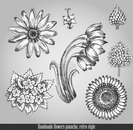 Handmade flowers panache. Vector illustration in retro style