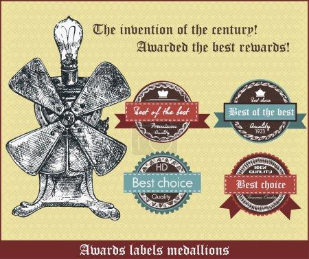 Illustration pour L'invention du siècle. Décerné les meilleures récompenses. Récompenses étiquettes médaillons. Illustration rétro vectorielle - image libre de droit