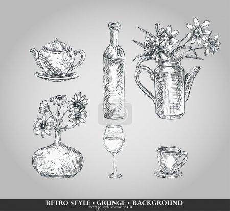 Illustration pour Ensemble vectoriel d'articles de cuisine. Théière, bouteille, vase, verre, tasse. Style rétro - image libre de droit