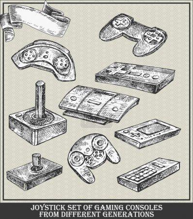 Illustration pour Ensemble de consoles de jeux Joystick de différentes générations. Illustration de croquis vectoriels - image libre de droit