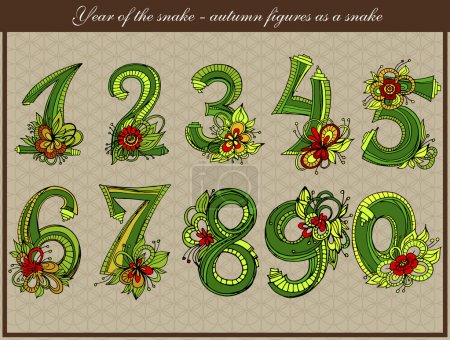 Year of the snake. Autumn figures as a snake.