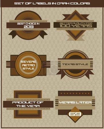 Set of dark brown shop labels. Vector illustration in retro style